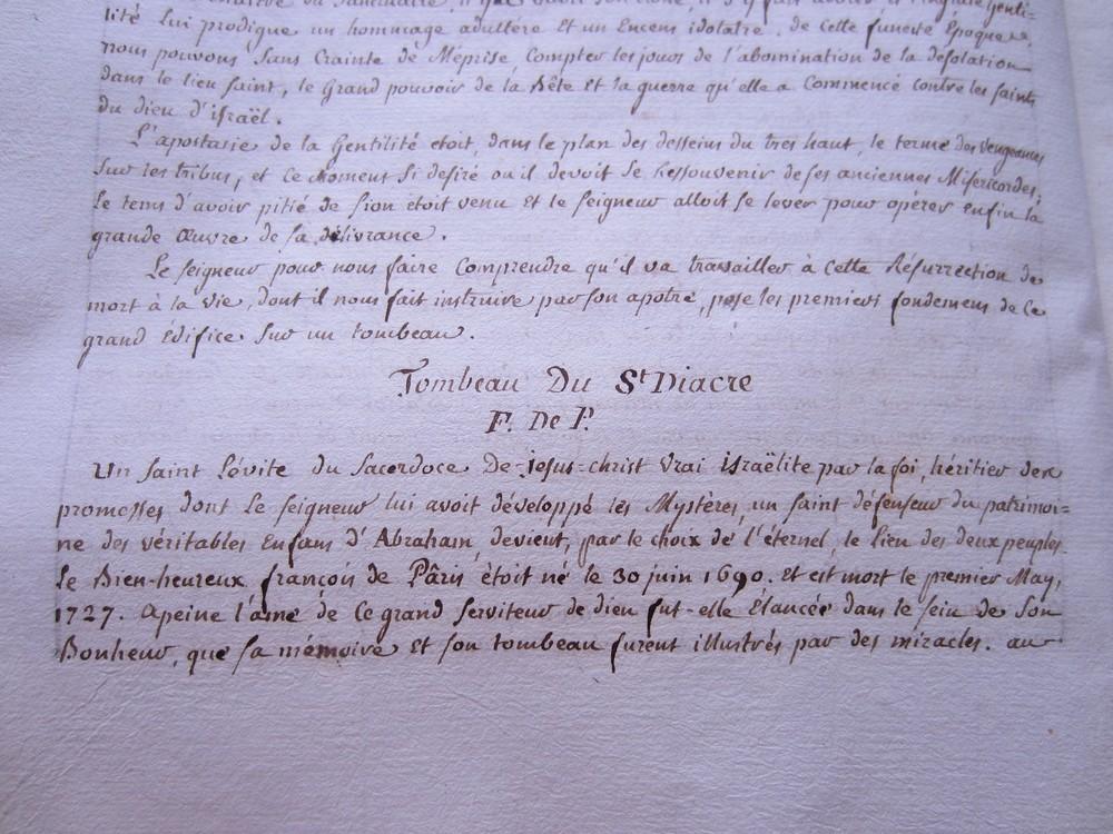 Ms Masson 704-03 : biographie du diacre Pâris, mort en 1727