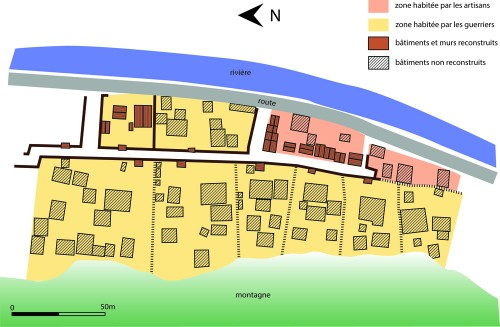 Zone du site concernée par la reconstruction