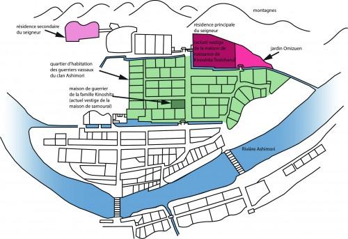 Plan schématique de la ville d'Ashimori réalisé à partir d'un plan de l'ère Enpō (1673-1681)