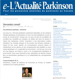 Blog e-L'Actualité Parkinson