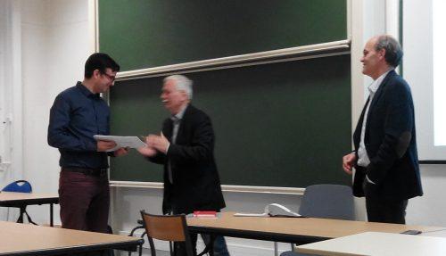 """Remise du prix de thèse de la SFHST à Lionel Dufaux pour sa thèse """"L'amphithéâtre, la galerie et le rail"""""""