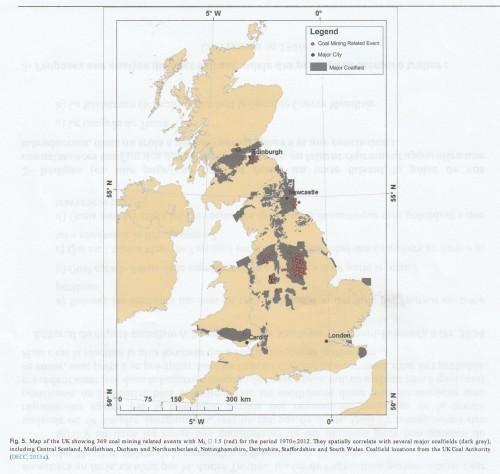 """Figure n° 5: Carte des séismes induits par les mines de charbon en Grande-Bretagne entre 1970 et 2012 (Source: WILSON M.P. et al., """"Anthropogenic earthquakes in the UK; A national baseline prior to shale exploitation"""", in """"Marine and Petroleum Geology"""", t. 68, 2015, p. 6)."""