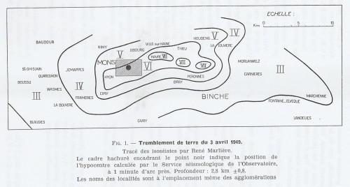 """Figure n° 3: """"Carte macroséismique du tremblement de terre d'Havré du 3 avril 1949"""" (Source: MARLIERE R., """"Les tremblements de terre d'avril-mai 1949 dans la région de Mons"""", in """"Bulletin de la société belge de géologie, de paléontologie et d'hydrologie"""", t. 60, 1951, p. 24)."""