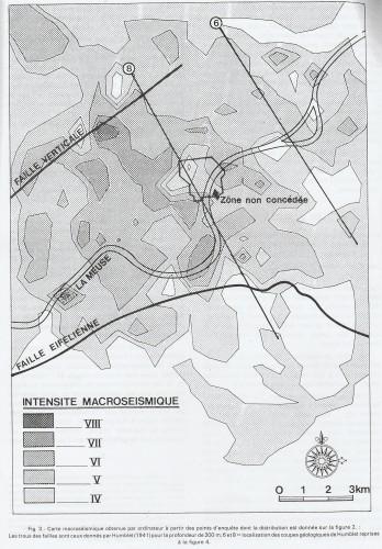 """Figure n° 5: """"Carte macroséismique du tremblement de terre de Liège du 8 novembre 1983"""" (Source: FRANCOIS M., PISSART A. et DONNAY J.-P., """"Analyse macroséismique du tremblement de terre survenu à Liège le 8 novembre 1983"""", in """"Annales de la société géologique de Belgique"""", t. 109, 1986, p. 533)."""
