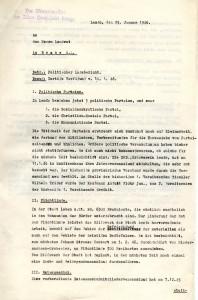 Politischer Lagebericht des Lemgoer Bürgermeisters  an den Landrat in Brake (B 3722)