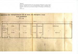Skizze einer Gefangenenbaracke der Firma Gebrüder Schlingmann, Lemgo, 1942/43 (Sta L B 4569)