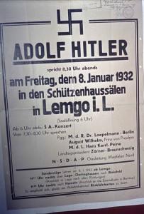 Werbeplakat (Dia-Reproduktion) zum Auftritt Adolf Hitlers am 08.01.1932 in Lemgo (StaL N3/1684)
