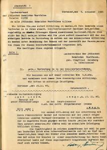 Adolf Sternheim leitet eine Anfrage wegen der Besetzung von Wohlfahrtsausschüssen mit Juden weiter (StaL B 3541)