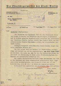 Kaufangebot der Stadt Berlin für ein rundes Ölbild, 1936 (StaL B 3656)