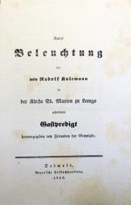 Titelblatt einer Druckschrift gegen Rudolf Kulemanns Gastpredigt, (StaL A 4317).