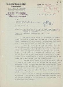 Schreiben der geheimen Staatspolizei (Staatspolizeistelle Münster, Außendienststelle Bielefeld) an die Kreisleitung der NSDAP in Detmold, 09.01.1942, LAV NRW OWL L 113 Nr. 1043, fol. 210