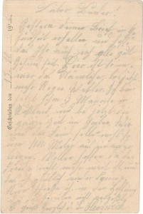 Heinrich Echtermeyer an seinen Bruder Bernhard Echtermeyer, Feldpostkarte vom 15. Oktober 1916.