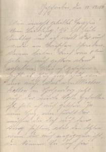 August Jasper an Bernhardine, Brief vom 11. November 1916 (Teil 1)