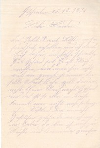 Heinrich Echtermeyer an seinen Bruder Bernhard, Feldpostbrief vom 25. Dezember 1916; Erste Seite.