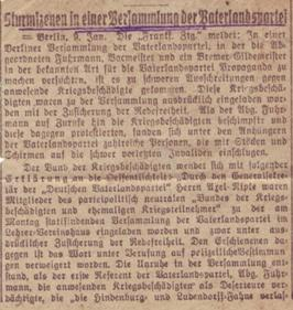 """Erste Seite des Zeitungsartikels """"Sturmszenen in einer Versammlung der Vaterlandspartei"""" vom 9. Januar 1918, den August Jasper dem Brief vom 19. Januar beilegte."""