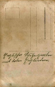 August Jasper an seine Frau Bernhardine Jasper, Feldpostkarte vom 25. Oktober 1915 (Rückseite)