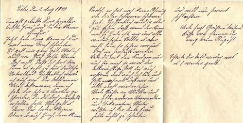 August Jasper an Bernhardine Jasper, Feldpostbrief vom 2. August 1914: