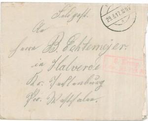 Brief Heinrich Echtermeyers an seinen Bruder, geschrieben am 26.3.1916. Umschlag Vorderseite.