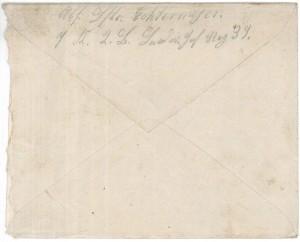 Brief Heinrich Echtermeyers an seinen Bruder, geschrieben am 26.3.1916. Umschlag Rückseite.