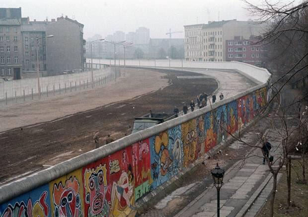 Vue du mur de Berlin dans les années 1980