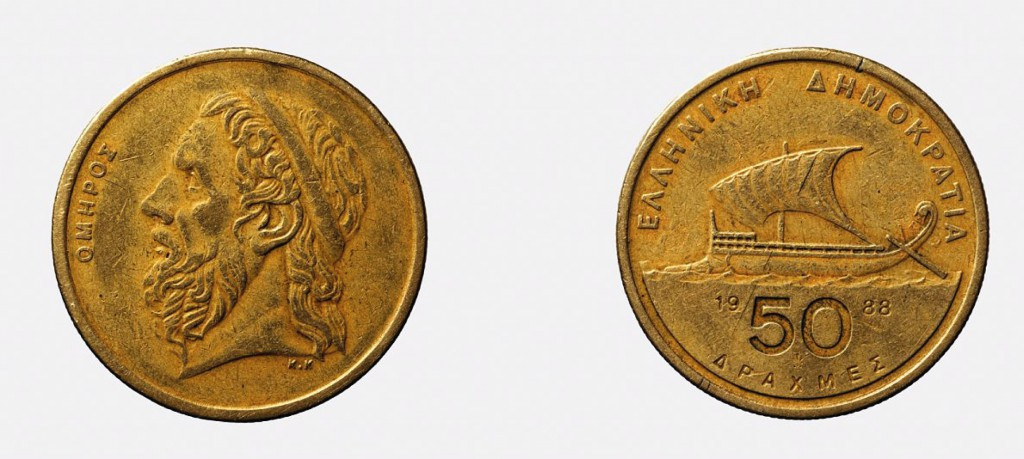 Monnaie grecque représentant, à l'avers, le portrait d'Homère, et au revers, une pentécontore du 6è siècle av. J;-C. (© Ch. Durand, CCJ-CNRS/AMU)