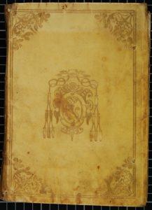 Légende: H 4* 3486, Le Mans, Médiathèque Louis Aragon, plat supérieur, ancien possesseur: la Marquise de Vibraye