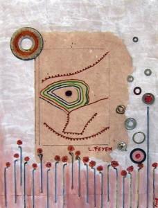 Oeuvre de Laure Feyen à base de collage de papier artisanal, peinture à l'huile et inclusion de diverses récupérations : rondelles, disque usé de disqueuse, rayons de vélos.