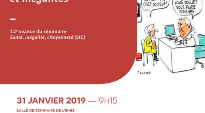 12e séance Séminaire Santé Inégalité Citoyenneté 31 janvier 2019 Santé mentale et inégalités