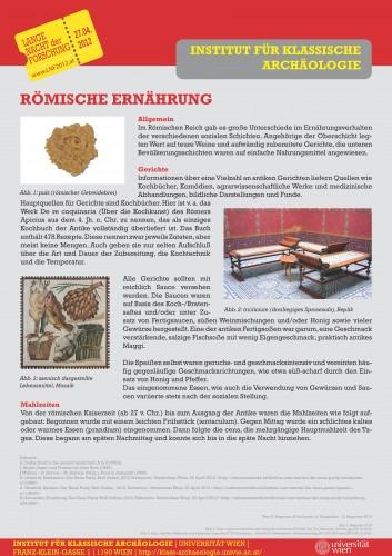 Poster über römische Ernährung zur Posterausstellung über antike Ernährung am Institut für Klassische Archäologie der Universität Wien im Rahmen der Langen Nacht der Forschung 2012