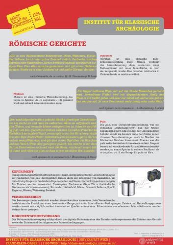 Poster über römische Gerichte und experimentalarchäologische Rekonstruktion römischer Nahrung zur Posterausstellung über antike Ernährung am Institut für Klassische Archäologie der Universität Wien im Rahmen der Langen Nacht der Forschung 2012