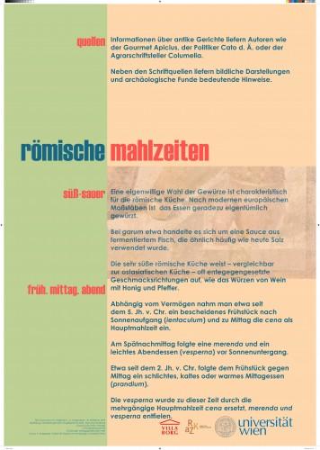 """Plakat über römische Ernährung im Zuge des Laborexperiementes """"BORG2014"""" in der Villa Borg"""
