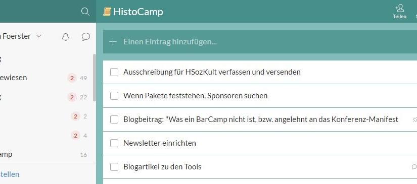 Organisation des #HistoCamp mit Slack, Wunderlist und OwnCloud