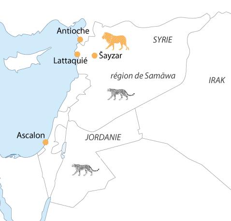 Carte du Proche-Orient, avec localisation des lions et guépards au XII et XIIIe siècle