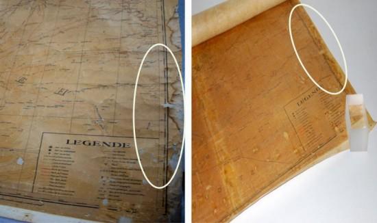 Restauration de la carte de 1939 : lacune ste pliures, avant et après traitement