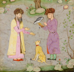 Fauconnier et guépard apprivoisé (dét.), Inde du Nord, c.1610-1615, Londres, Victoria and Albert Museum, IS.48:37/B-1956