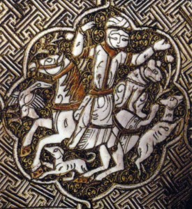 Chasse à cheval, avec guépard assis à l'arrière du cheval. Aiguière Blacas, vers 1232, Irak, Mossoul. British Museum, ME OA 1866.12-29.61
