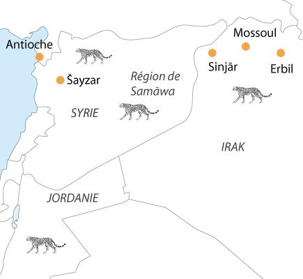 Carte du Proche-Orient avec présence des guépards (XIIe-XIVe s.)