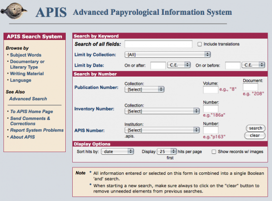 Advanced Papyrological Information System (APIS)
