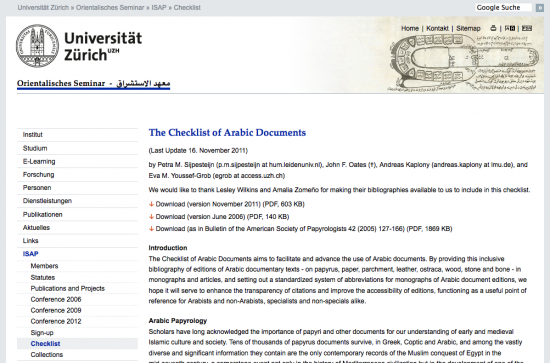 Checklist of Arabic documents