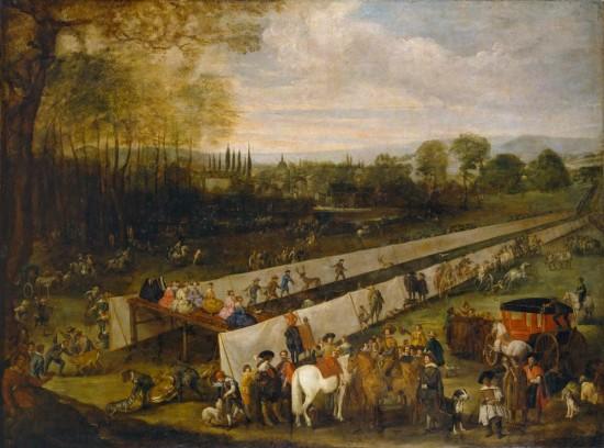 Batista Martinez del Mazo Juan, Chasse à Aranjuez (Caceria del tabladillo en Aranjuez), huile sur toile, 187 cm × 249 cm, 1640 ca, Madrid, Musée du Prado, P02571