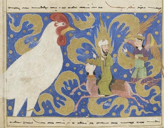 Une scène du mi'râj, «l'ascension céleste» de Muhammad. Sur le dos de sa monture ailée, le prophète rencontre lors de sa traversée des sept ciels un ange en forme de coq. Manuscrit produit à Hérat, XVe siècle (Paris, BnF, Manuscrits orientaux, Supplément turc 190, fol. 11).