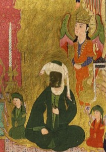 Muhammad au visage voilé ; l'ange Gabriel se tient derrière lui. Miniature extraite de la version illustrée de la chronique Zubdet el-tevarikh réalisée au xvie siècle pour le sultan ottoman Murad III (détail) (Istanbul, Musée des arts turcs et islamiques).