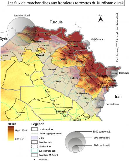 Fig. 3 : flux de marchandises aux frontières terrestres du Kurdistan d'Irak  (@ C. Roussel, Ifpo)