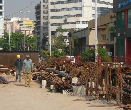 Beyrouth, chantier du tunnel de Sodeco, 2013 (photo E. Longuenesse)