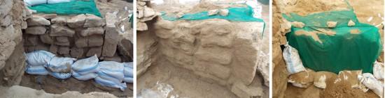 Exemple de consolidation et de protection réversible d'une partie du rempart nord menaçant de s'effondrer (©MAFKF)