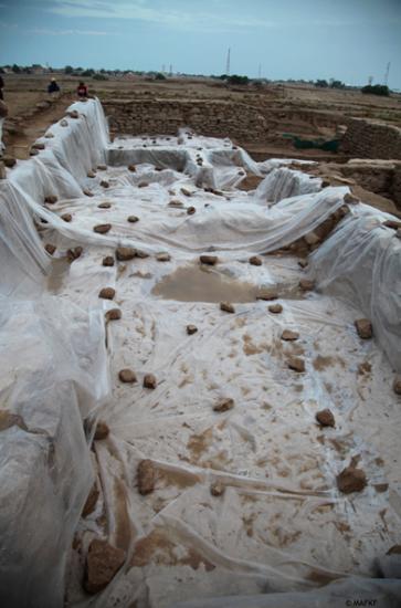 Exemple de la mise en place ponctuelle de dizaines de mètres de bâches en plastique pour protéger des averses les zones en cours d'étude (©MAFKF)