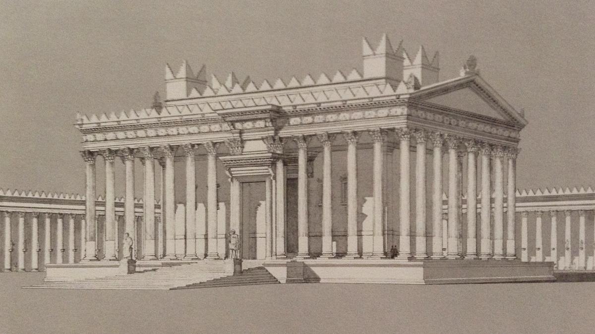 Fig. 3 : Proposition de restitution du temple de Bel à Palmyre, vue perspective depuis l'angle sud-ouest de la cour (SEYRIG, AMY, WILL 1975, pl. 141).