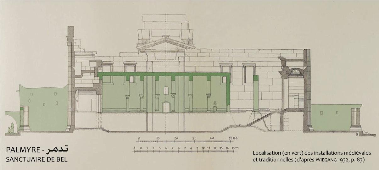Fig. 5 : Coupe longitudinale sur le temple de Bel, mise en évidence des réoccupations médiévales dans les portiques et la cella (d'après WIEGANG 1932, p. 83).