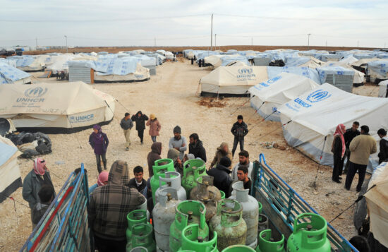 Fig. 4. Distribution of gas bottles in Zaatari camp. Photograph: A. Montanari, 2012.