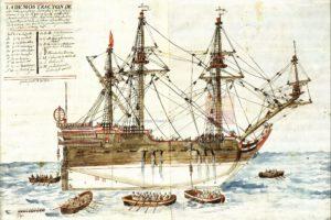 Plano del galeón Nuestra Señora de la Mar, de la Armada del General Marqués del Vado, que naufragó en el Golfo de la Bermuda. 1691 AGI, Mapas y Planos, Ingenios 318